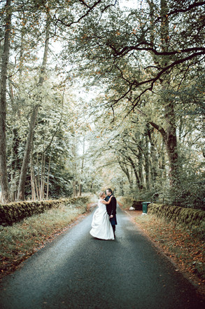Bride and Groom Autumn Portrait