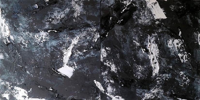 Diptych _New Moon_ 120 x 240 cm, mixed media on canvas, Energy Series, 2021 Ewa Matyja cop