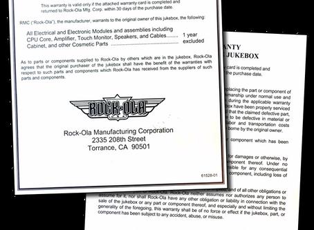 Rock-Ola Warranty Nostalgic Digital Music Center Jukebox