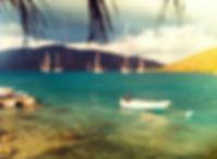 CH.3-7 Little boat in aqua water Gitana.