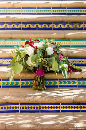 Dani bridal bouquet on steps