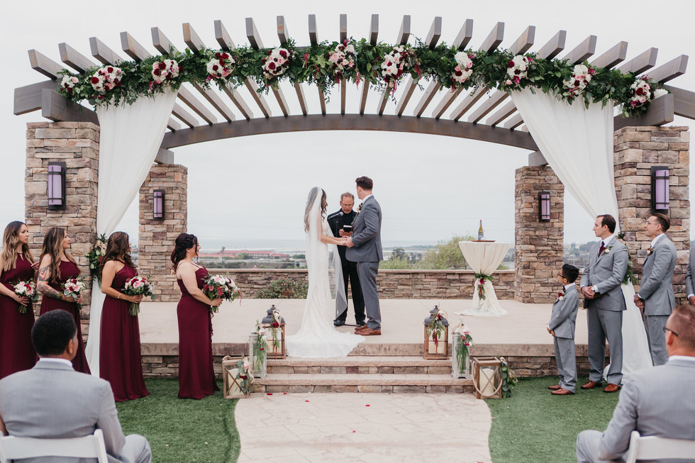 CEREMONY Wedding party at the pavillion burgundy blush cream rustic elegance _@PacificViewsEventCenter