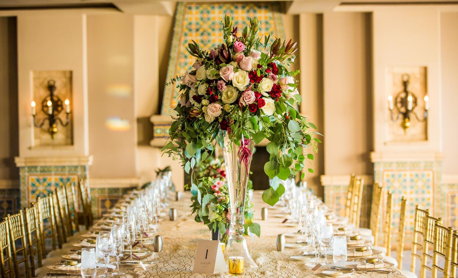 Opulent floral centerpiece for Reception