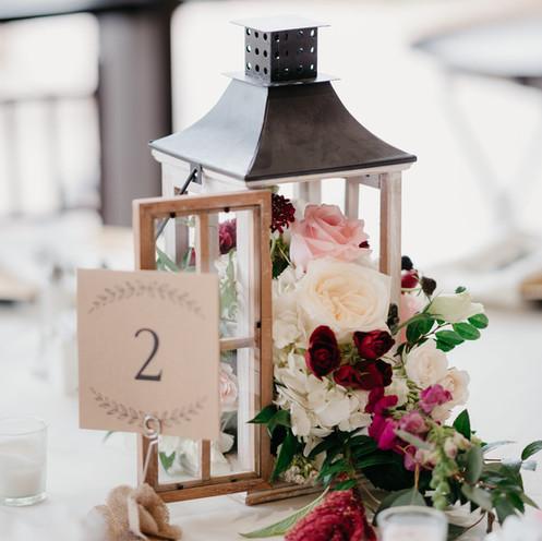Reception Lantern Centerpiece with flowers @PacificViewsEventCenter