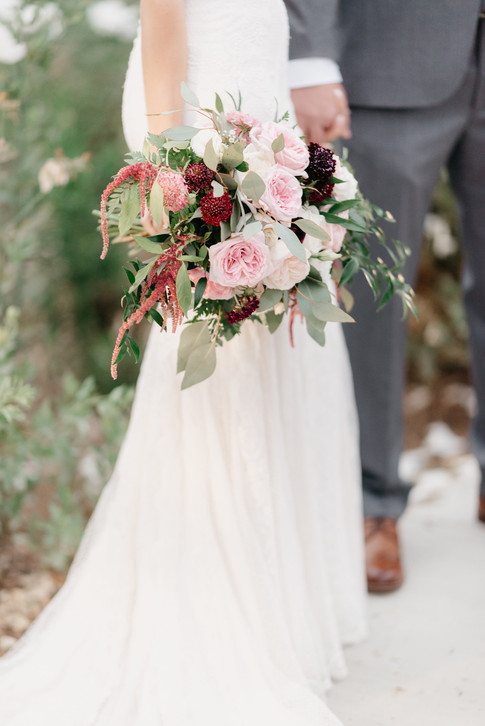 PERSONALS Bride with bouquet at her side bridal bouquet oval draping hand-tied burgundy blush cream rustic elegance _@PacificViewsEventCenter sweet Jessica