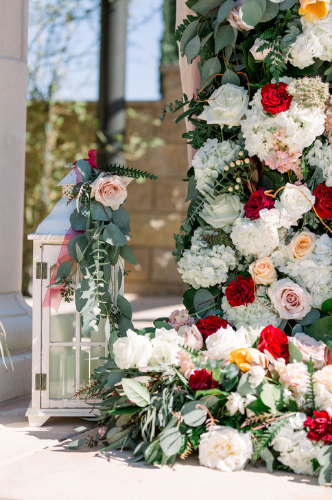 ceremony decor full flowers blush cream peach maroon burgundy