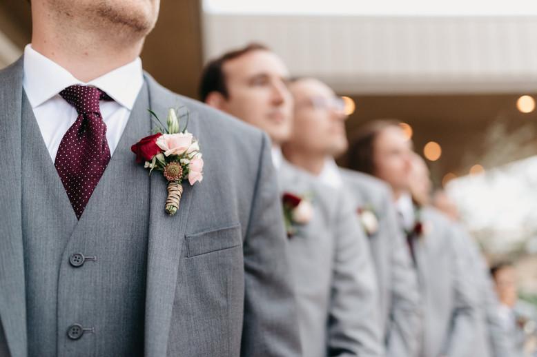 CEREMONY Groomsmen close up at the pavillion burgundy blush cream rustic elegance _@PacificViewsEventCenter