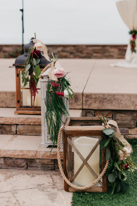 CEREMONY Pavillion steps lanterns close up right side just before the start..burgundy blush cream rustic elegance _@PacificViewsEventCenter