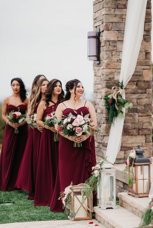 CEREMONY Bridesmaids at the pavillion burgundy blush cream rustic elegance _@PacificViewsEventCenter