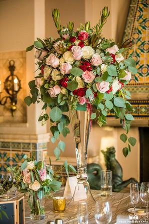 Dani & Clint _LaValenciaHotel tall rustic elegant centerpiece reception
