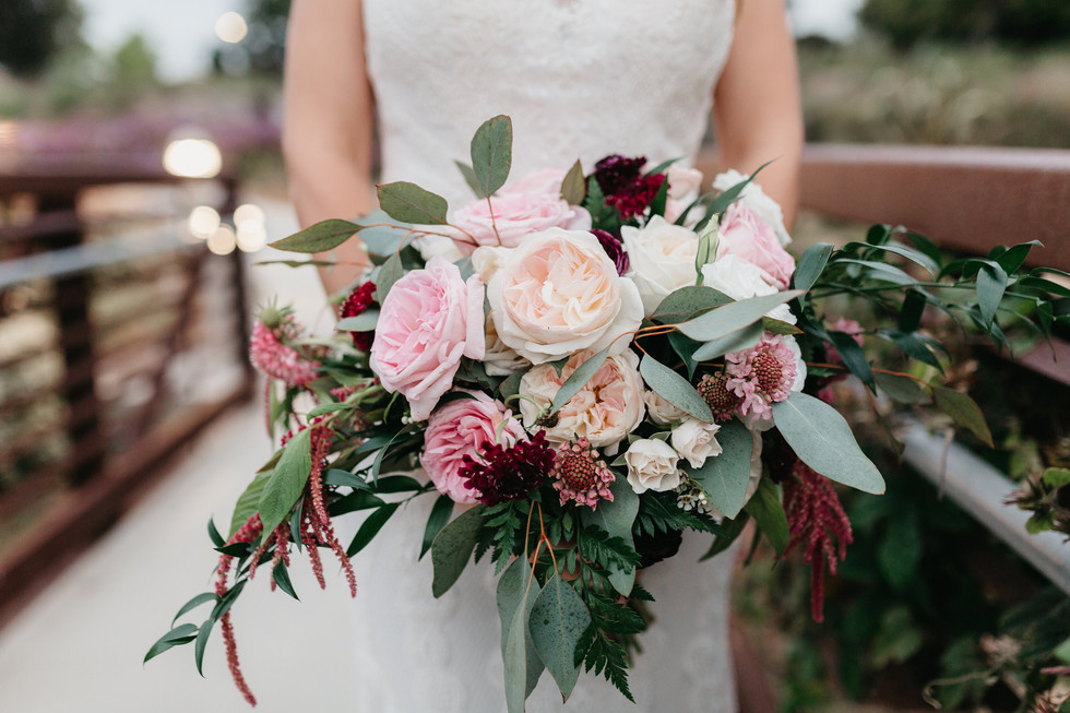 PERSONALS Bridal bouquet oval draping hand-tied close up burgundy blush cream rustic elegance _@PacificViewsEventCenter sweet Jessica