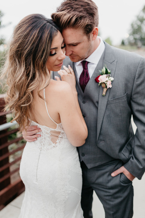 BRIDE & GROOM tender moments close up burgundy blush cream rustic @PacificViewsEventCenter