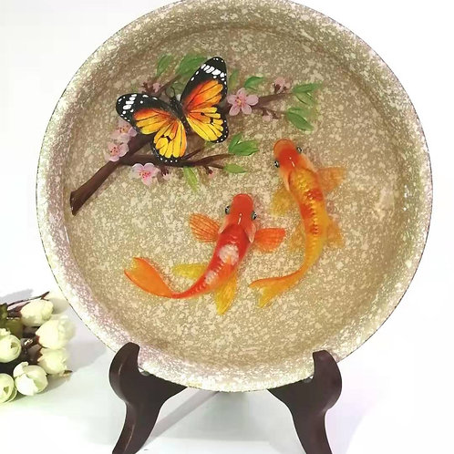 Butterfly On The Flower With Koi