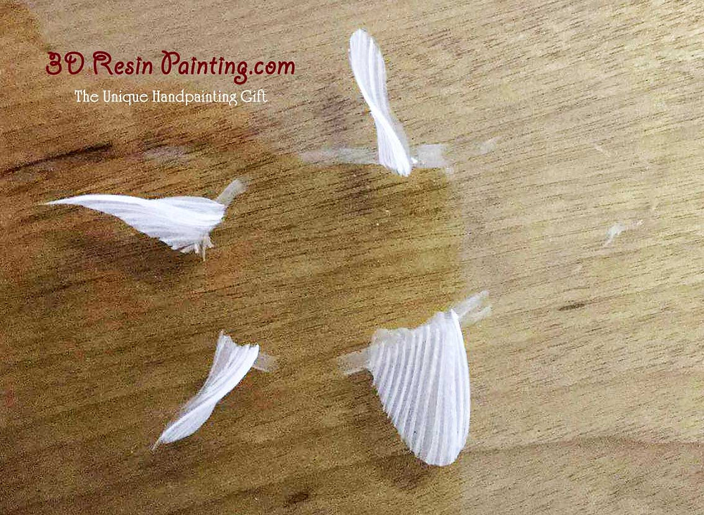 step 1 resin painting to paint mouth and fins in white colour