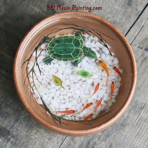 Wise Tortoise | Resin Painting in Wooden Bowl