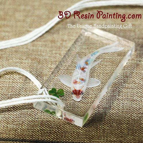 Classic White Fish Pendant   3D Resin Jewelry