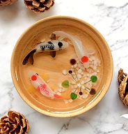 Three Koi In Bamboo Bowl Resin for Sale