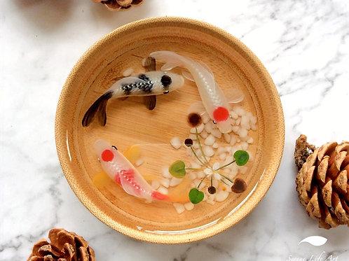 Three Koi In Bamboo Bowl | Resin Art