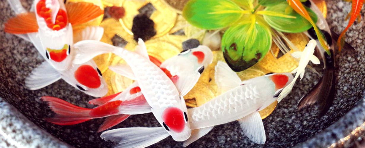 white koi fish resin painting in ceramic