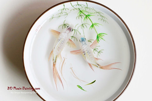 White fish couple with pink fins resin painting in a Chinese style teacup