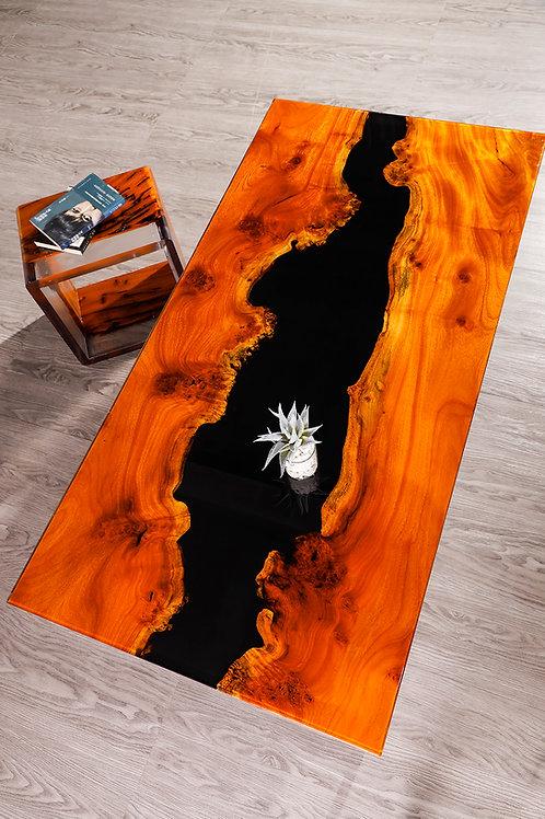 Dual Horizons River Coffee Table   Jackfruit Wood   Resin River Table