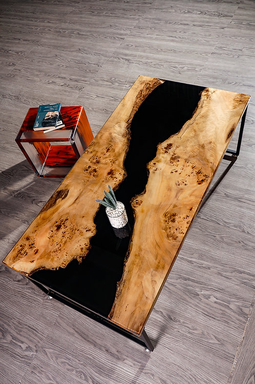 Dusky River Coffee Table | American Fir Burl | Resin Table