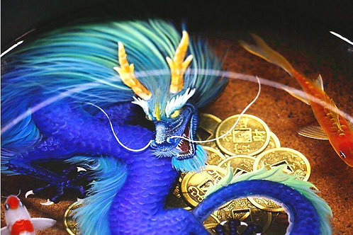 Rainbow Dragon, Koi and Coins |  Dragon Art