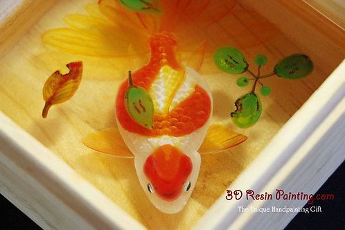 Red Goldfish with Leaves | Resin Art