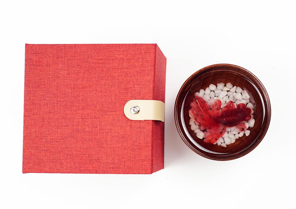 red moor goldfish resin art for sale