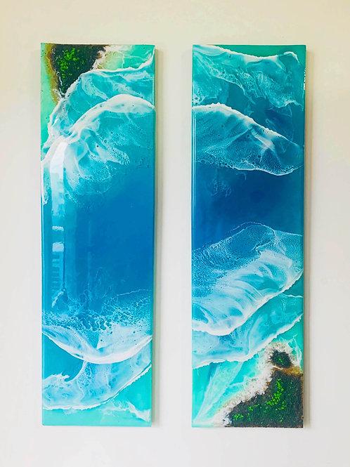 Diptych Bliss | Ocean Island Resin Art | Wall Decor