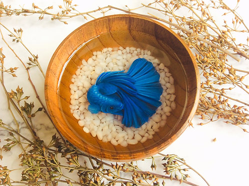Fluorescent Blue Betta Fish | Resin Art | Resin Painting