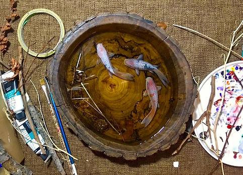 serene life art workshop resin art koi fish painting