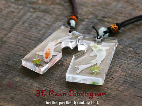 Amorous White Koi Pendants for Two | 3D Resin Jewelry