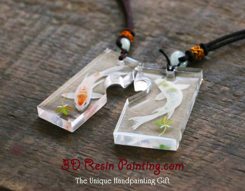 A couple of white koi resin painting pendant for you and your lover aloadofball Image collections