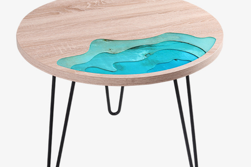Handcrafted round epoxy resin river side table modern coffee table