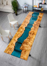 Blue Unity River Dining Table | American Fir Burl | Epoxy Resin Table