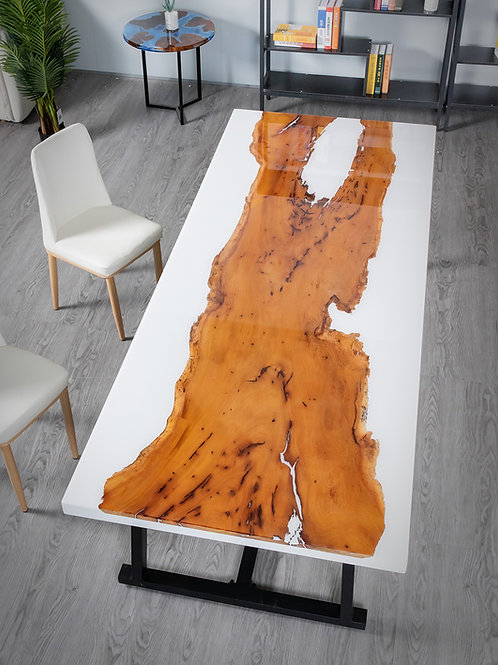 White Desert River Office Table | Jackfruit Wood | Resin Table