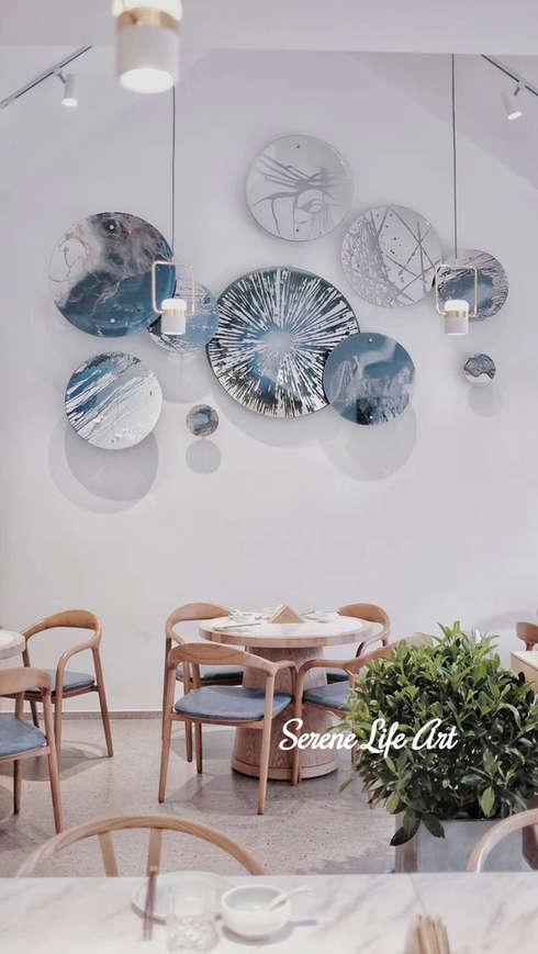 Abstract resin art wall circles decoration
