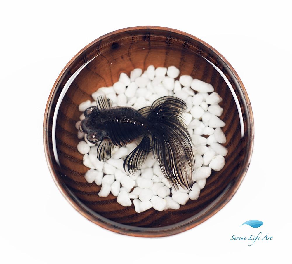 black moor goldfish resin art
