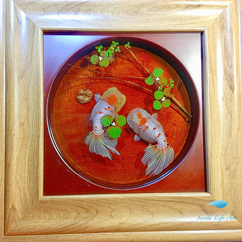 Framed Ranchu Goldfish | Resin Painting | Wall Art Decor