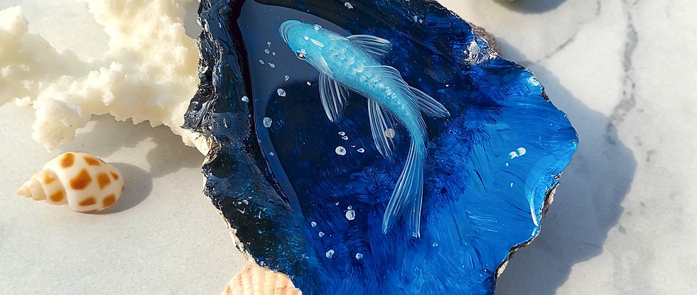 Blue Fish Painting in Oyster Shell | Resin Art