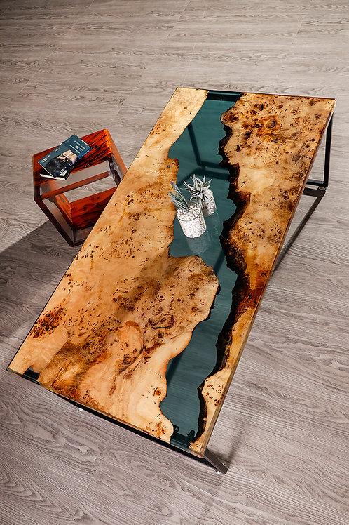 Stream of River Coffee Table | American Fir Burl | Resin Table
