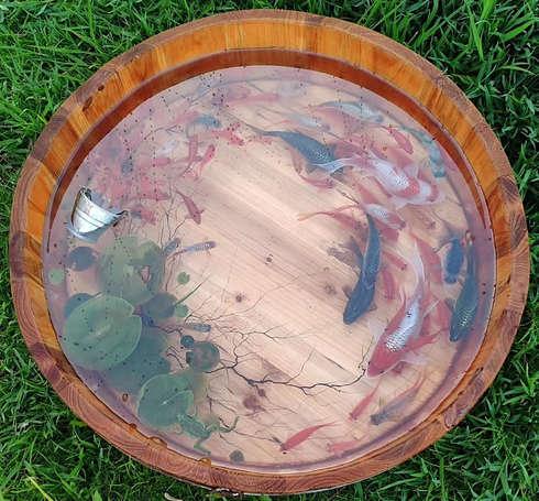 Exclusive koi fish resin painting artwork