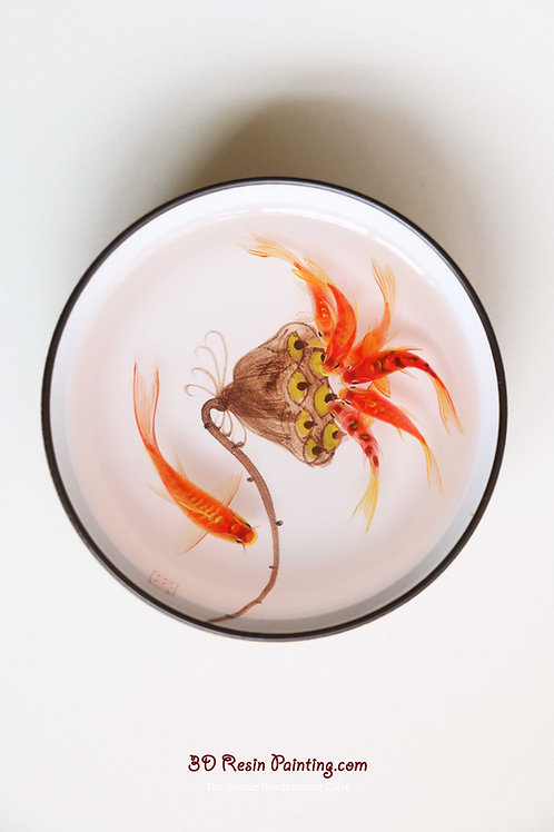 Red koi fish with seedpod of the lotus resin painting in a Chinese style teacup