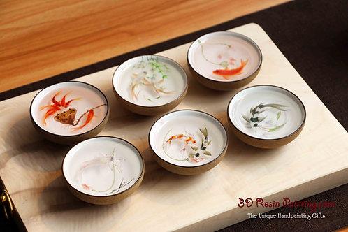 Six hand-painted koi fish artwork teacup set