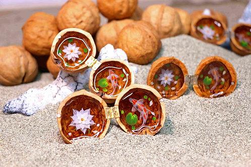Cute Mini Koi Fish Resin Painting In A Walnut Shell