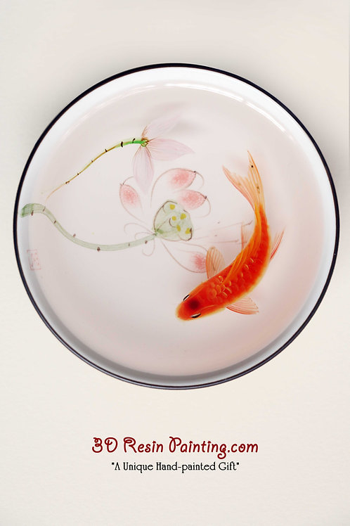 Red koi fish with lotus resin painting in a Chinese style teacup