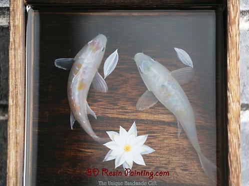 White Koi Fish Couple | Acrylic Painting on Resin Layers | Resin Art