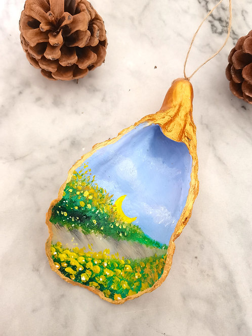 Yellow Flower Field Painting Xmas Ornament