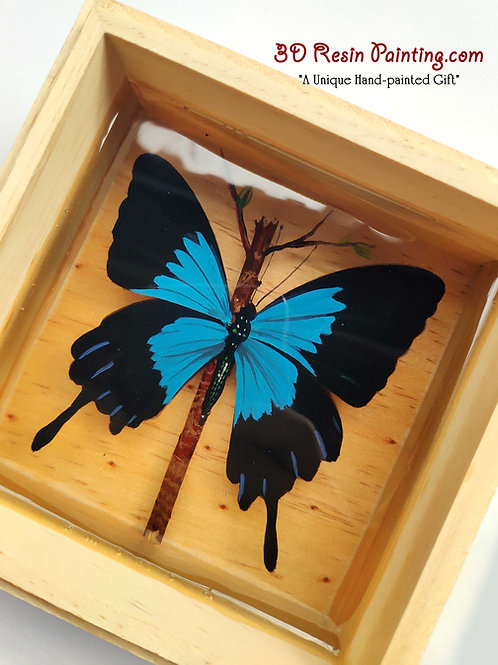 Mountain Blue Butterfly | Resin Painting